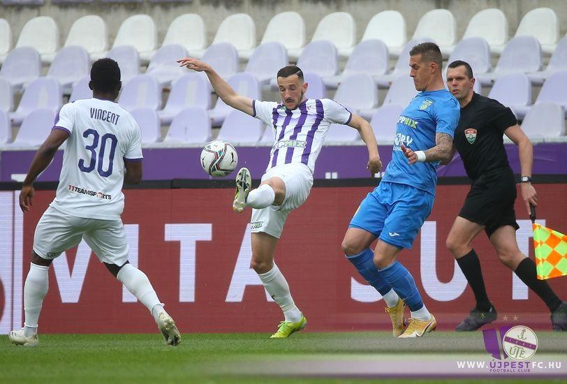 Horváth Róbert 200. NB I-es asszisztálása során az Újpest FC - Mezőkövesd Zsóry FC mérkőzésen.